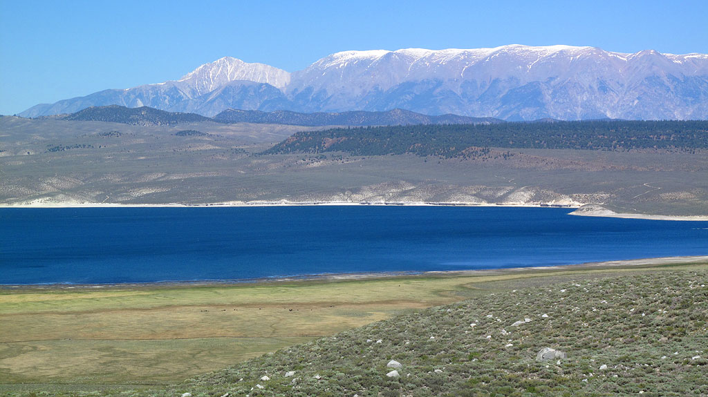 Looking across Crowley Lake at Glass Mountain on the left, and Banner Ridge.