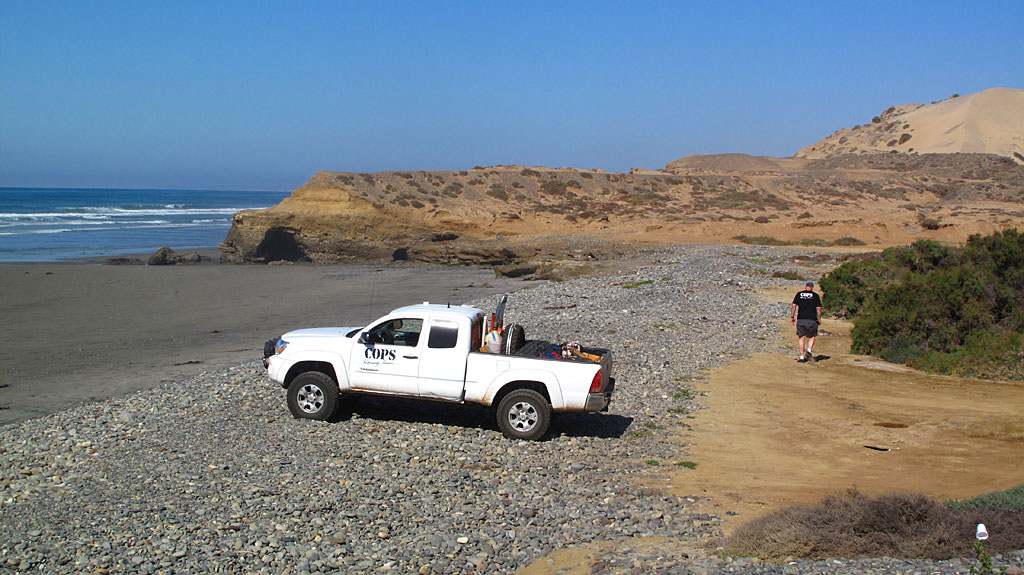 While driving down Highway 1 to our COPS Racing support position, we took a break at a beach near El Rosario.