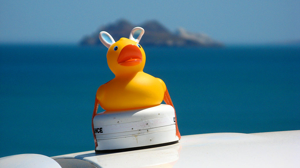 As an Easter gift, Carol gave me this cool rubber ducky which accompanied us to Gonzaga Bay desperately clinging to the GPS antenna.