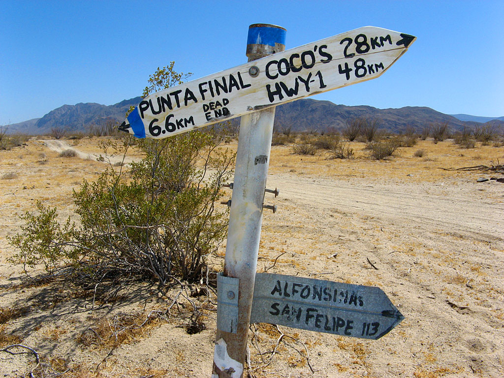 An old desert intersection south of Gonzaga Bay.