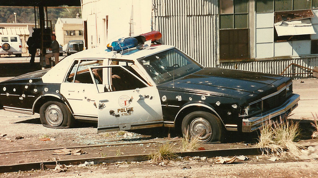 We got to watch the movie good-guy/bad-guy shoot out, where an LAPD car was riddled with bullets. The movie people had rigged the car with squibs, which did an realistic job of simulating gun fire.