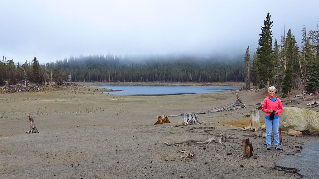 A very low water level at Horseshoe Lake - normally, the water would be just behind Carol.