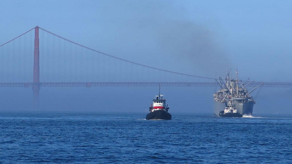 More Fleet Week movement under the Golden Gate Bridge.