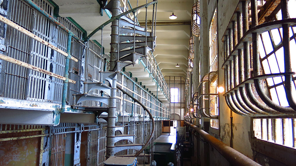 Alcatraz had four cell blocks, A-D, each with three stories.