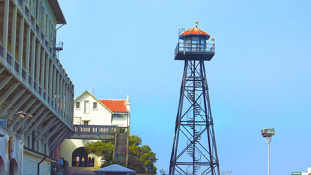 Of the many guard towers which existed on Alcatraz, this is the only one remaining.