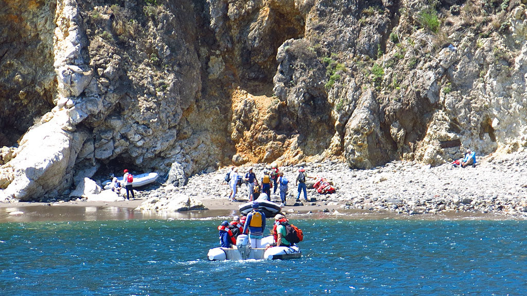 The dock at Scorpion Harbor was damaged several years ago by large waves, so everyone was taken ashore on inflatable boats -- a somewhat cumbersome process.