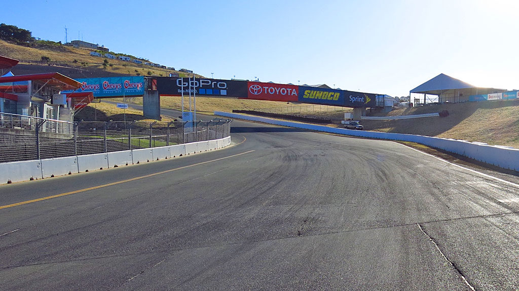 Looking at Turn 1, then left up an S-curve on a steep hill, to a blind, right-hand Turn 2.