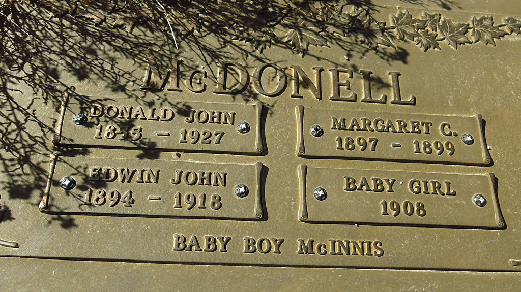 The McDonell family plot in the Bodie graveyard.