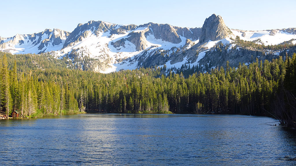 600 inches of winter snow in the Sierras translates to a ton of snow remaining in July. Creeks are flowing fast and full, and lakes crept into the forests.