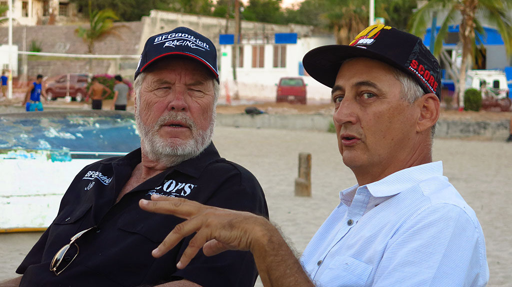 We dashed to the finish in La Paz, but that was after John Langley drove the #250 to a first place finish in class, and 13th overall. Of the 405 entrants, around 240 finished. We all met at Stella Restaurant for a celebratory dinner on the beach while John chats with the owner of the restaurant.