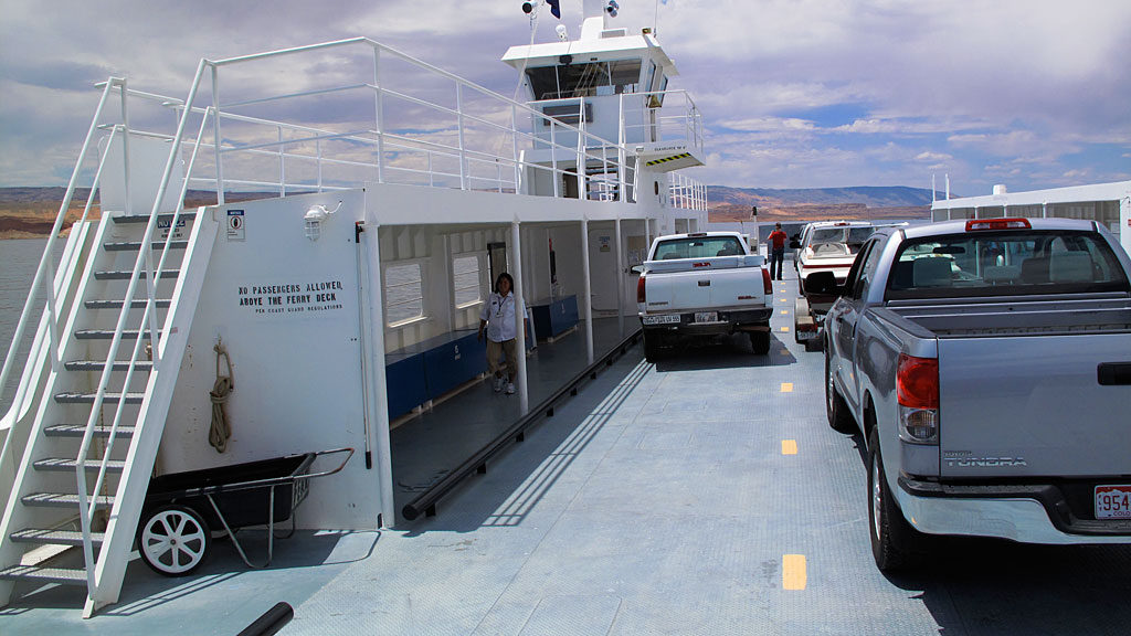 There were only about a half-dozen vehicles on the ferry, maybe 30% capacity.