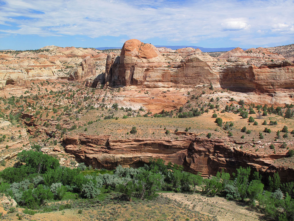 Bucketloads of Utah scenery with Calf Creek in the foregound.