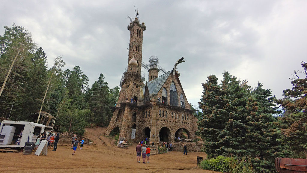 A constant work-in-progress, the Castle occupies two-and-a-half acres of land surrounded by national forest and Highway 165. Located at 9,000', the castle sees a lot of snow.